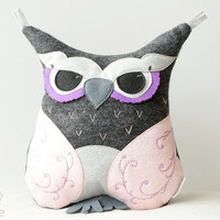 Pink Owl Pillow Felt Owl Pillow Stuffed Toys Home Decor Pillow Decoration Gray Owl