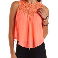 Neon Coral Crochet & Chiffon Swing Tank Top by Charlotte Russe