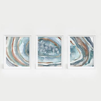 Watercolor Agate Quartz Triptych Wall Art Print