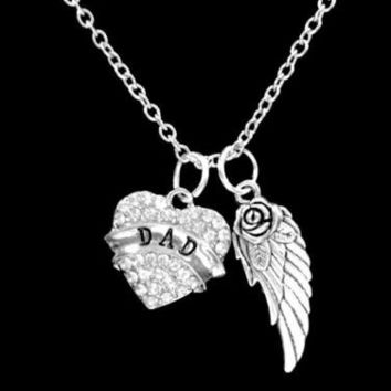 Dad Crystal Heart Memorial Guardian Angel Wing Charm Necklace