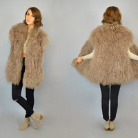 Vintage 80's CONVERTIBLE taupe MONGOLIAN FUR Tibetan Shaggy Lamb reversible coat jacket vest, small-large