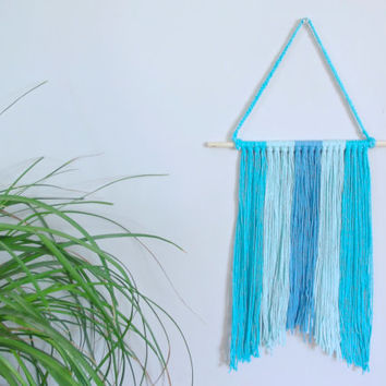 Blue Wall Hanging Blue Nursery Decor Baby Girl Nursery Baby Boy Nursery Blue Home Decor Nursery Wall Hanging Beach Home Decor Yarn Art