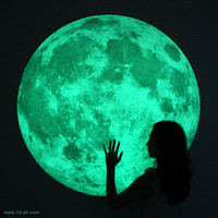 The world's largest Moonlight /XL-size, Clair De Lune (glow in the dark moon wall sticker-100cm)