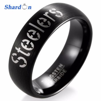 SHARDON Wedding band Engagement jewelry Tungsten matte Rings for Men NFL Football Pittsburgh Steelers Alternate Logo Ring