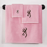 Browning Buckmark Bath Towels - Pink
