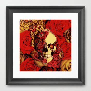 Full circle butterfly skull  Framed Art Print by Kristy Patterson Design