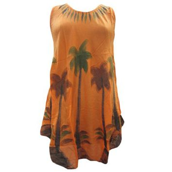 Mogul Womens Peasant Tank Dress Orange Sleeveless Loose Comfy Casual Rayon Boho Chic Cover Up Dress Slipover - Walmart.com