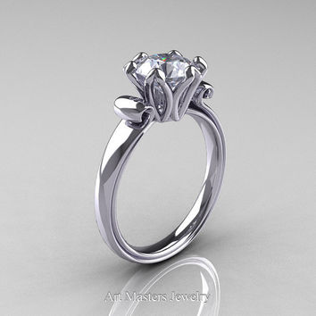 Modern Antique 14K White Gold 1.5 Carat White Sapphire Solitaire Engagement Ring AR127-14KWGWS