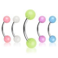 5 pack of 316L Surgical Steel Curved Barbell / Eyebrow Ring with Glow in the Dark Balls