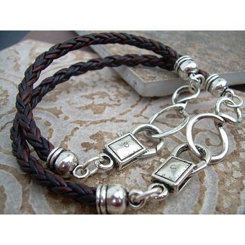 His and Hers Set of  Infinity Bracelets, Leather Bracelet, Mens, Womens, Natural Antique Brown Braided, Couples Bracelets,Mens Jewelry,