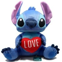 "Disney World Stuffed Stitch Plush - Red Heart ""Love"" 16-inch"