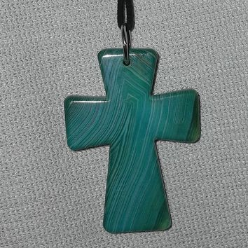 "Turquoise Striped Agate Cross  28"" Black Leather Silver Pendant Necklace"
