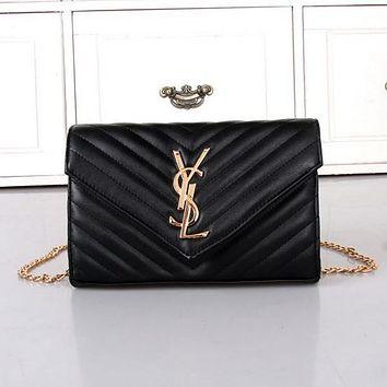 YSL Yves Saint Laurent Women Shopping Bag Leather Chain Satchel Shoulder Bag Crossbody