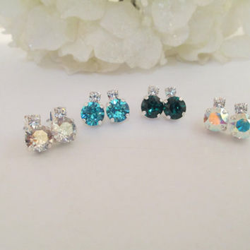 swarovski crystal earrings, studs, bridal, bridesmaid, birthstone, pick your color  #109.