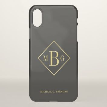 Masculine Monogram Classy Gold Frame Overlay iPhone X Case