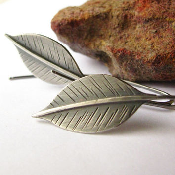 Long Leaf Earrings - Sterling Silver Earrings - Leaf Jewelry - Metalsmith Argentium Earrings - Long Leaves Silver Jewelry - Nature Jewelry