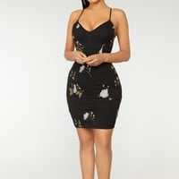 Floral Fantasy Embroidered Dress - Black