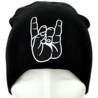 Horns Up Metal Sign Beanie Devil Occult Clothing Knit Cap