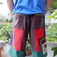 Earthy Grateful Dead SYF and Dire Wolf Corduroy Patchwork Mens Shorts Festival Shorts Hippie Patchwork Straight Leg Shorts Guys Shorts