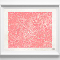Wuppertal, Germany, Print, Map, Poster, State, City, Street Map, Decor, Town, Illustration, Room, Wall Art, Customize, Dorm, Living Room