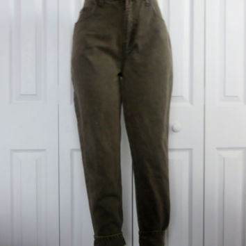 Vintage Grunge Bill Blass Jeans, Olive Green High Waisted Denim Jeans, Mom Jeans, Boyfriend Jeans, Womens 12 Petite, High Waist Jeans 32