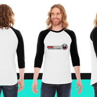 happiness is loading 2c American Apparel Unisex 3/4 Sleeve T-Shirt