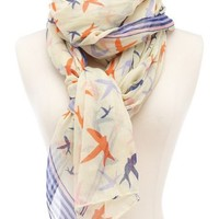 Nautical Bird Print Scarf: Charlotte Russe