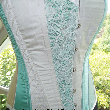 Classic vintage style corset. Wedding corset/ prom/ steampunk. UK 8-10 in fabric colours of your choice