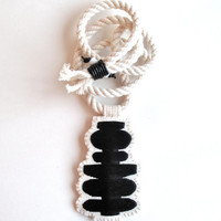Textile jewelry necklace with black geometric embroidered pendant on cotton rope with black leather wrap and white beads fiber necklace