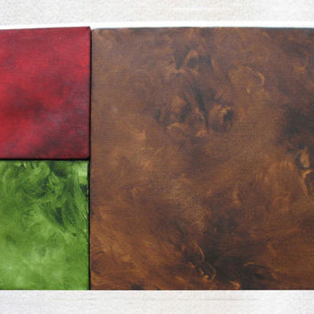 Modern Art - Minimalist Art - Living Room Art - Canvas Square - Earth Colours -Brown, Red, Green
