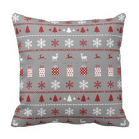 Christmas Sweater Pattern, white, red on gray Pillows