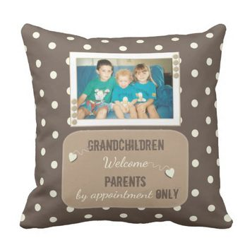 Brown Polka Dot Photo Pillow for Grandparents