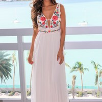 Cream V-Neck Maxi Dress with Floral Top