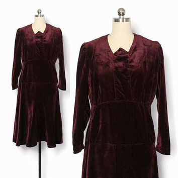 Vintage 20s Velvet Dress / 1920s - 30s Merlot Wine Simple Wearable Dress S - M