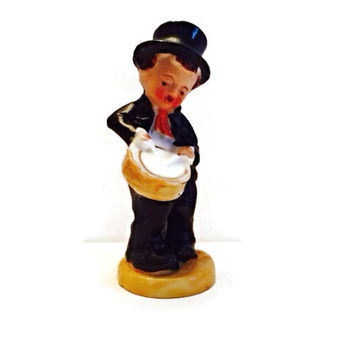 Vintage Bisque Hand Painted Porcelain Boy With Top Hat & Drum: Made in Japan, Collectible Figurine