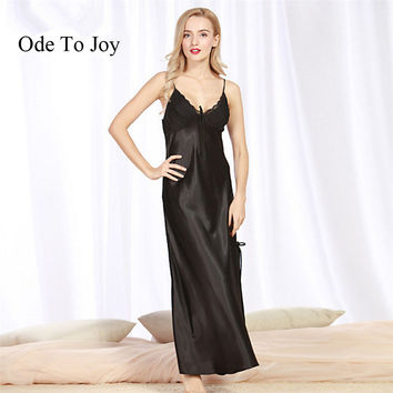 [Ode To Joy] Women Nightgown silk Sleepwear Summer sleeveless ankle length Dress Lounge Sleep shirts solid sexy long dress