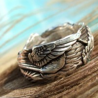 Bird Wings Silver Ring Custom Size Ring in by HappyGoLicky on Etsy