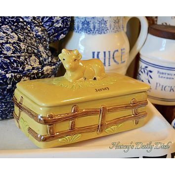 Vintage Majolica Covered Butter or Cheese Dish w/ Figural Jersey Cow