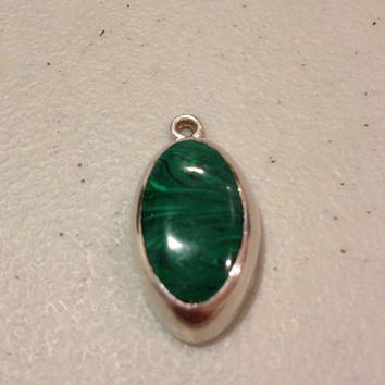 Taxco Malachite Pendant Sterling Silver Green Enhancer Slide Charm 4 Necklace Mexico Mexican Vintage Jewelry Southwestern Tribal Gift Stone