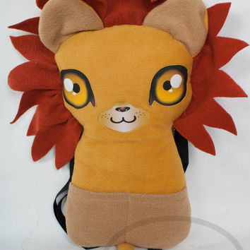 Lion Backpack,  Bag, Plush Animal, Handmade