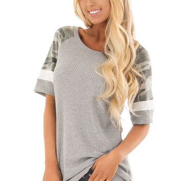 Fossil Grey Waffle Knit Top with Camo Sleeves