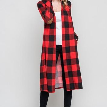 SALE Plaid Buffalo Duster Cardigan