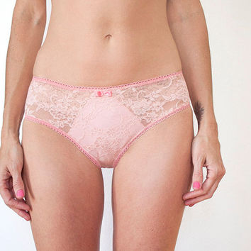 Barely There. Peachy Pink Sheer Lace Panties. Delicate Ultra Feminine Lingerie