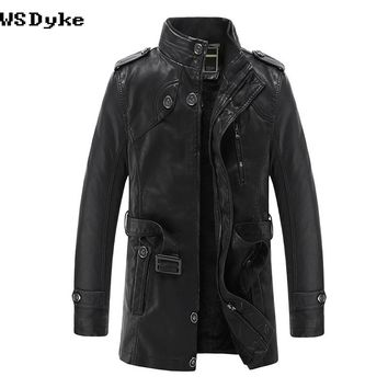 Stand Collar Black Long Leather Coat Men Slim Thick Warm Men Leather Motorcycle Jacket