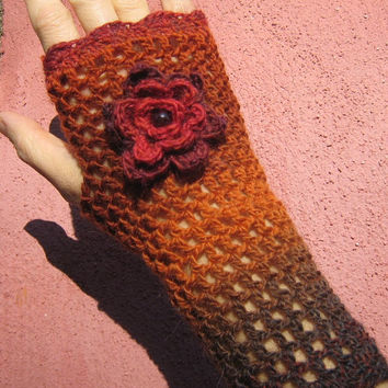 Red orange Mittens fingerless gloves wool flower victorian crochet lace steampunk gradient yarn Garnet gemstone