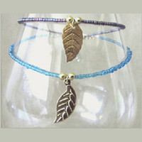 Gold Plated Leaf Charm & Glass Bead Anklet, Seed Bead Ankle Bracelet, Plus Size Turquoise or Purple Anklets, Handmade Beaded Summer Jewelry