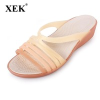 Women Sandals Summer Slippers Candy Color Women Shoes Peep Toe Beach Valentine Rainbow Croc Jelly Shoes Woman Flats ST238