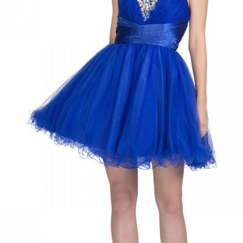 Rhinestone Studded Neck Ruched Short Royal Blue Prom Dress