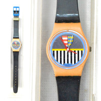 Vintage 80s Swatch Swiss Watch Valkyrie LP101 Pop Art