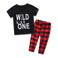 Summer Newborn Baby Clothes Set Baby Boy Clothes Jumpsuit Fashion Printed T-Shirt +Pant 2pcs Infant Clothing Costume red/blue